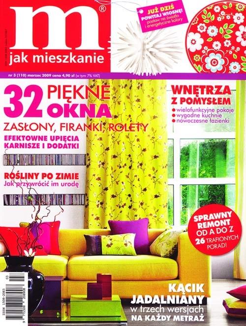 """Grafika Ingi Banaszkiewicz ukazała się w marcowym wydaniu miesięcznika """"M jak mieszkanie"""". Praca została opublikowana jako jeden z pomysłów na modny akcent kwiatowy dodający wnętrzom barwy i świeżości."""
