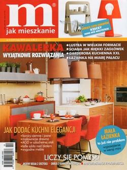 """Styczniowy numer magazynu """"M jak mieszkanie"""" prezentuje dodatki do wnętrza w odcieniach fioletu. Jedną z propozycji są prace z oferty artpower.pl."""