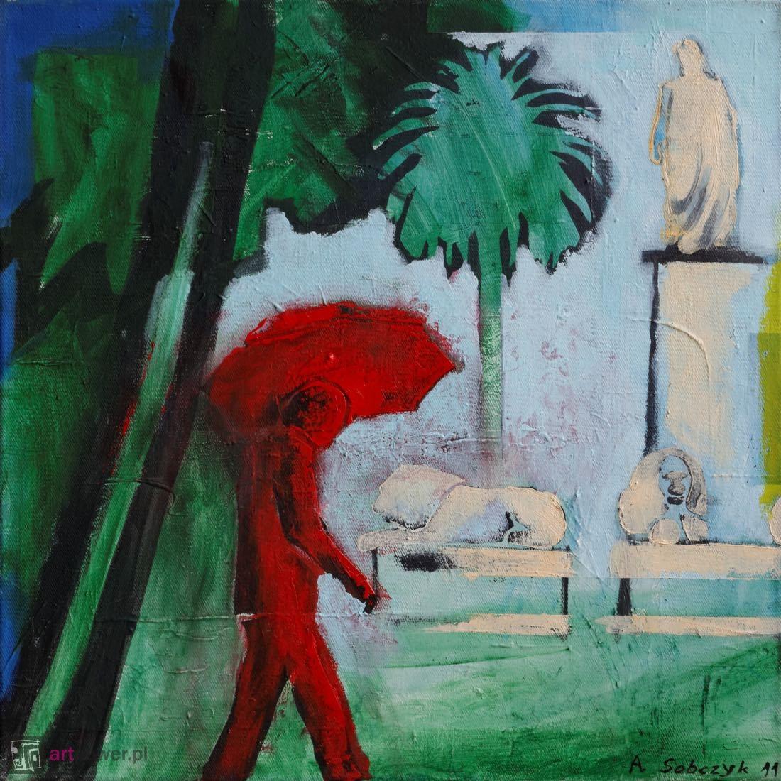 Ajaccio w deszczu, czerwony parasol