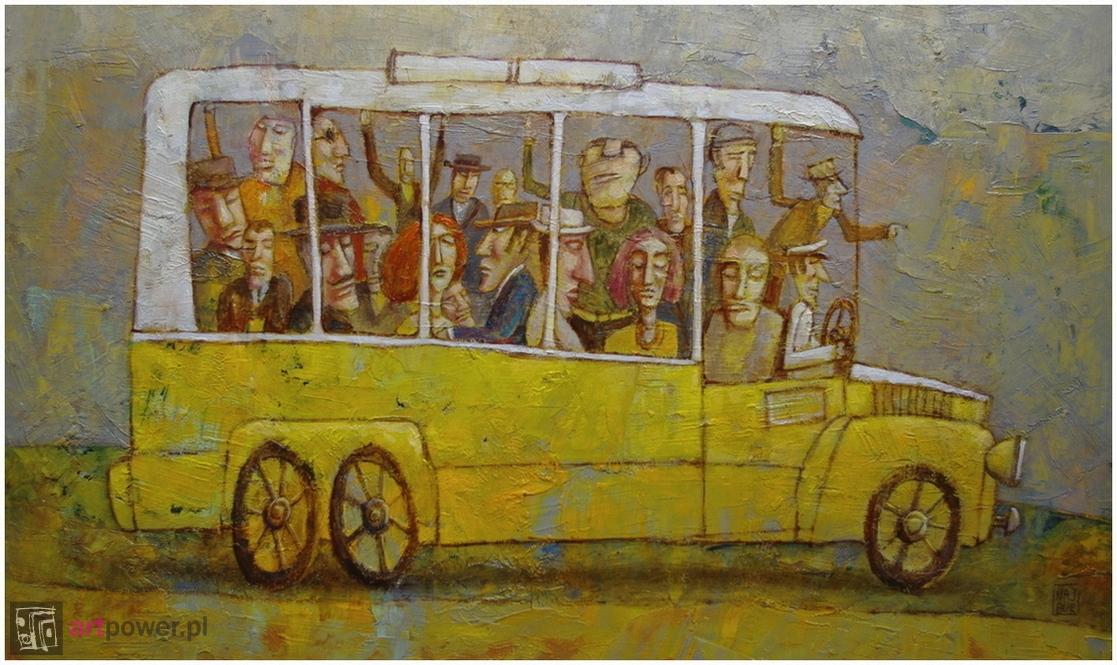 Autobus jadący w prawo