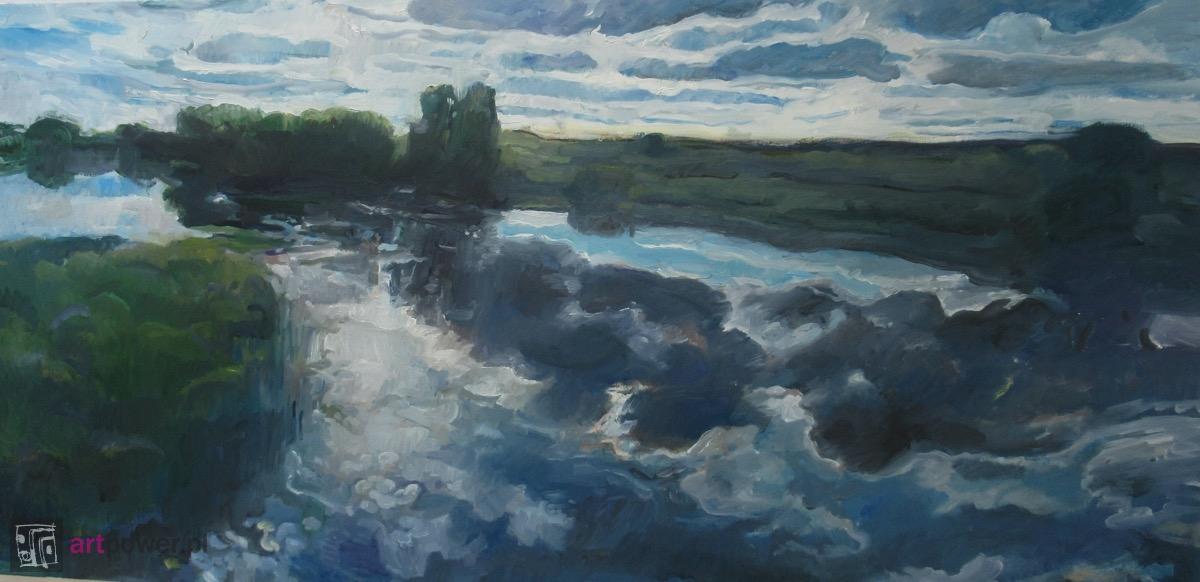 Ciemne chmury na rzece