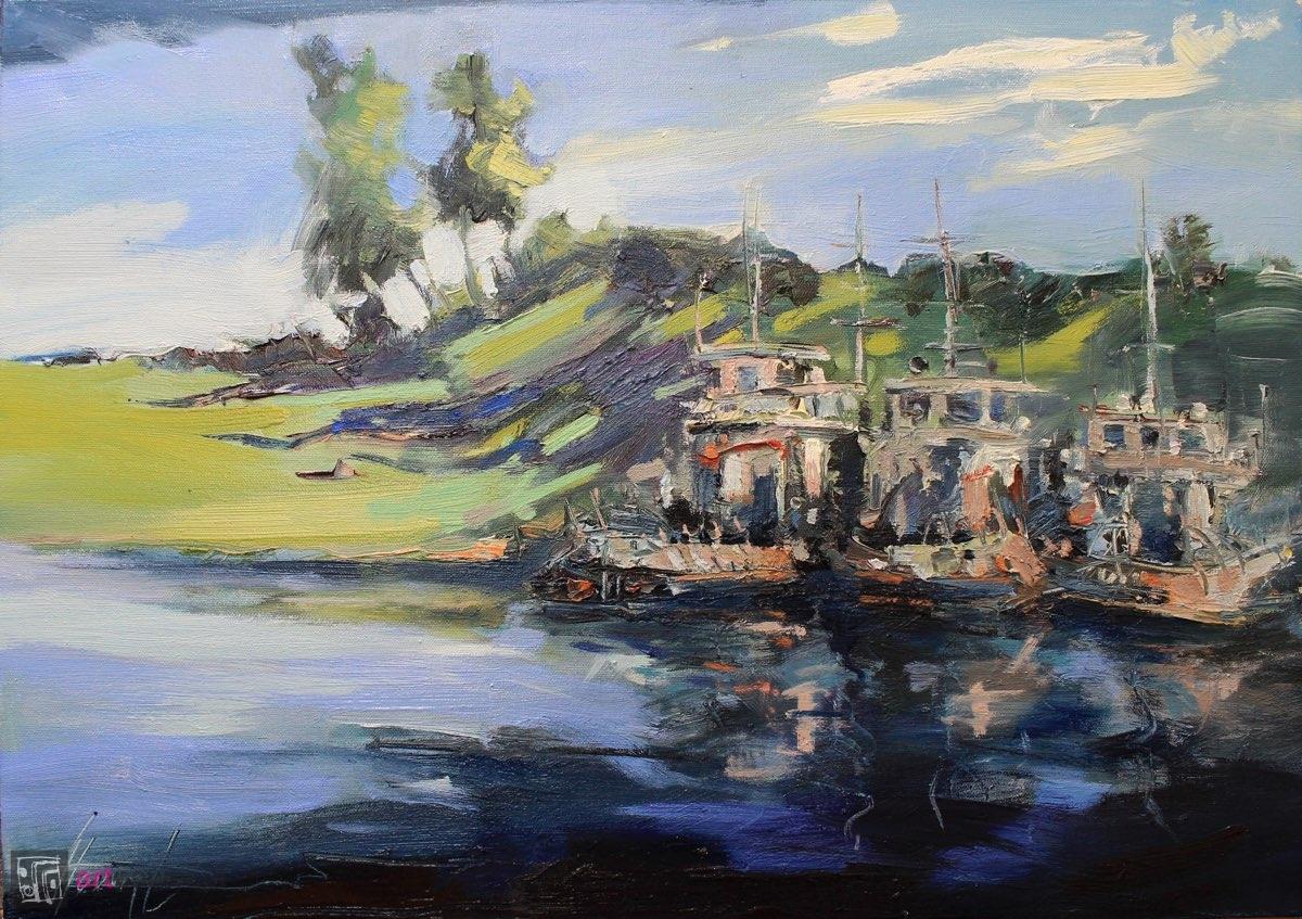 Barki na rzece - wieczór