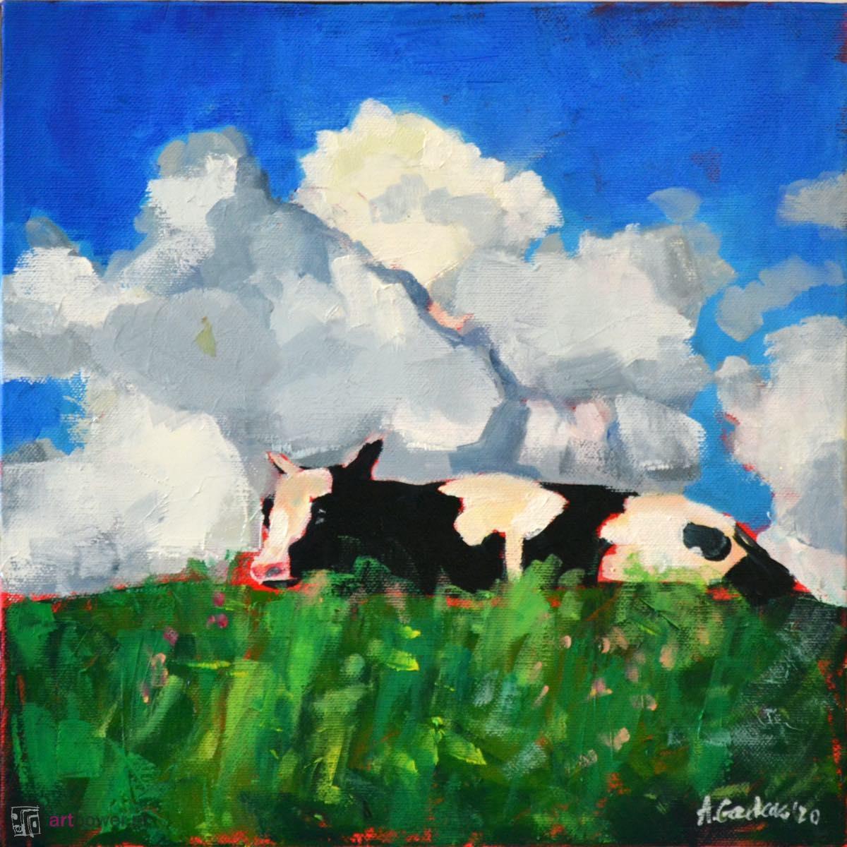 Krowa na wzgórzu