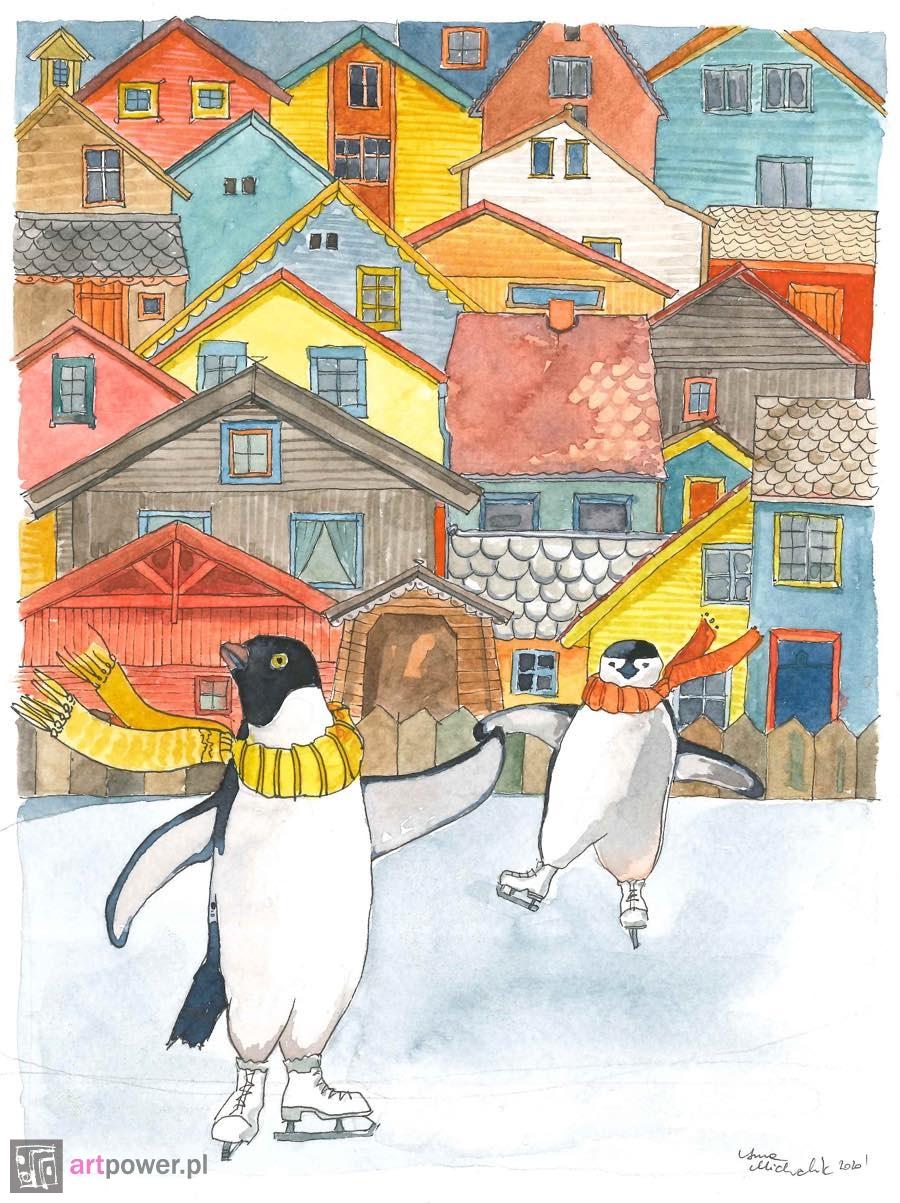 Pingwiny na lodowisku