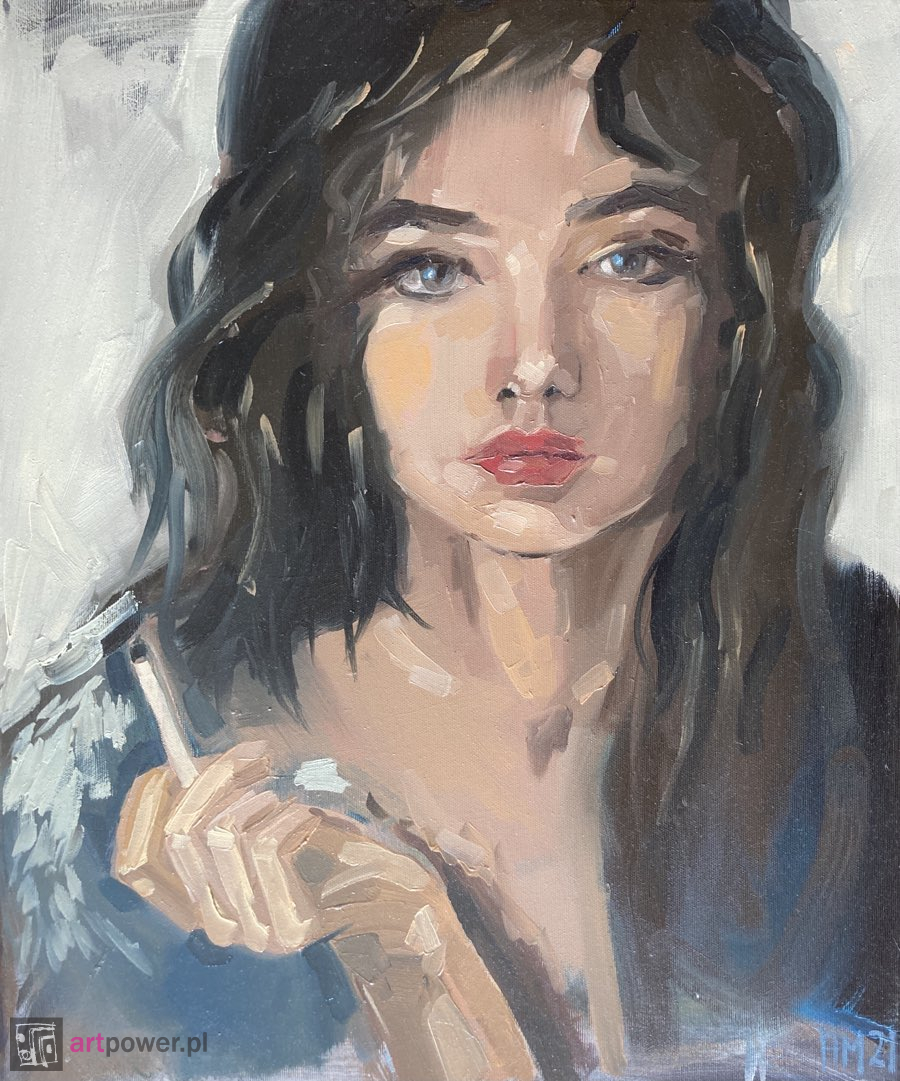 Portret kobiecy z papierosem