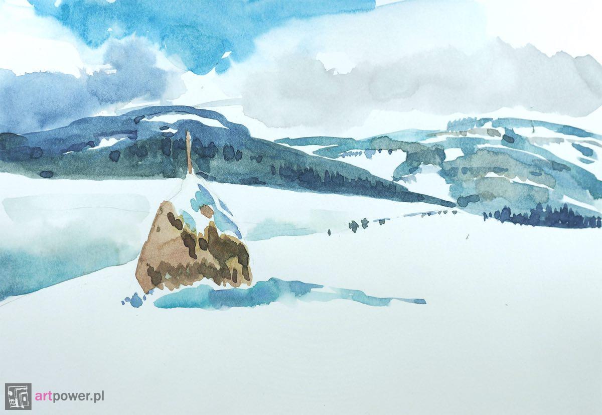 Zimowy widok z kopką