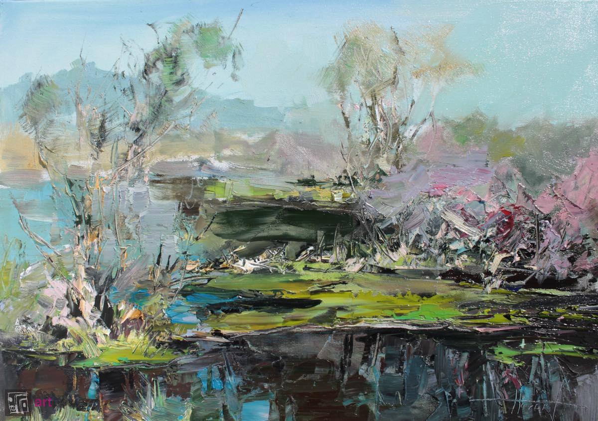 Jezioro w wiosenny poranek