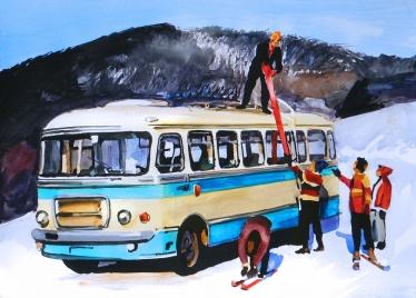 San H 100A na stoku narciarskim